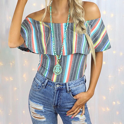 Striped Hit Color Printing Sleeveless One-word Collar Casual Top NSZH52451