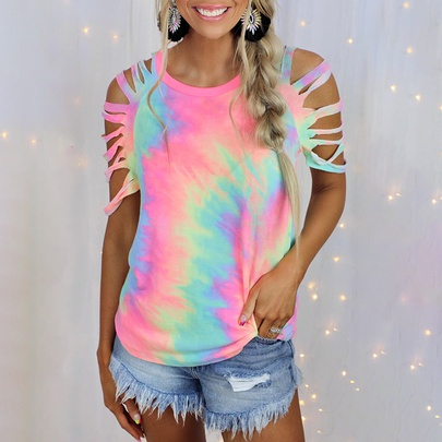 Tie-dye Printed Short-sleeved Strapless Sexy Casual T-shirt NSZH52454