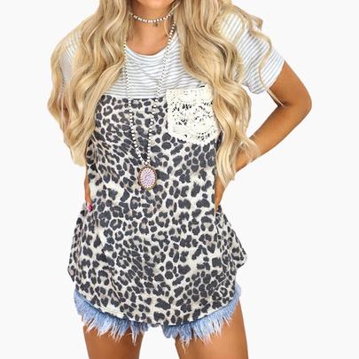 Stripes Leopard Print Stitching Short-sleeved Pocket Casual T-shirt  NSZH52456