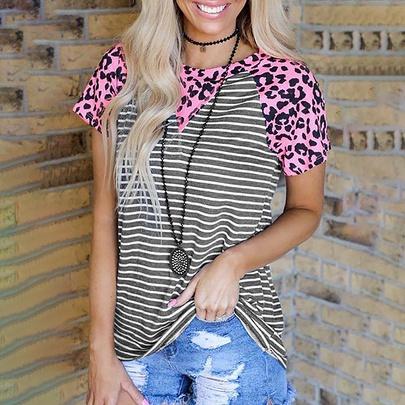 Printing Stripe Stitching Short-sleeved Casual T-shirt NSZH52457