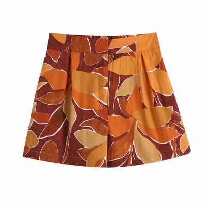 High Waist Pleated Print Casual Shorts NSAM52463