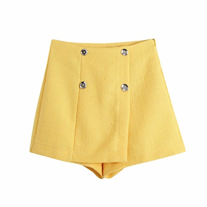Solid Color Texture Double-breasted Decor Shorts  NSAM52465