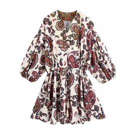 Paisley Pattern V-neck Lace-up Dress  NSAM52470
