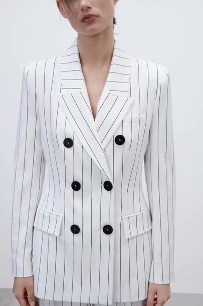 Fashion Striped Double-breasted Pockets Splicing Blazer NSAM52472