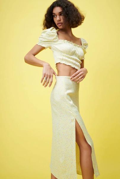 High Waist Print Split Mid-length Skirt  NSAM52477