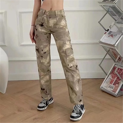 Camouflage Print Loose Multi-pocket Trousers NSAC52494