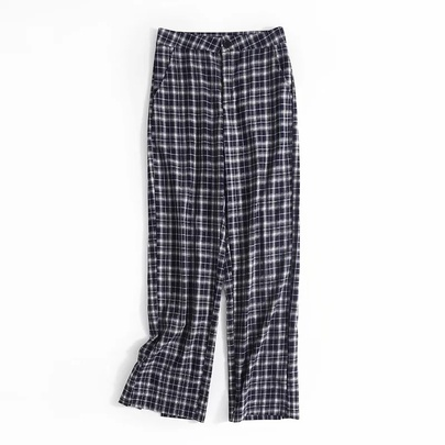Loose Straight Split High Waist Plaid Wide-leg Pants  NSAC52497