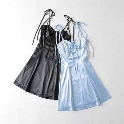 Solid Color Sexy Satin Lace-up Sling Short Dress  NSHS52504
