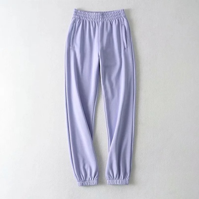 Solid Color Loose Elastic Waist Casual Sports Pants  NSHS52505
