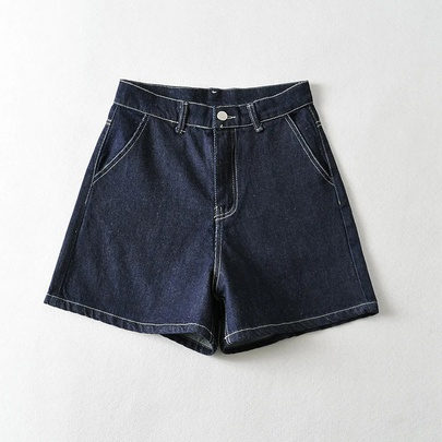 High-waist Bright Line Denim Wide-leg Shorts NSHS52507