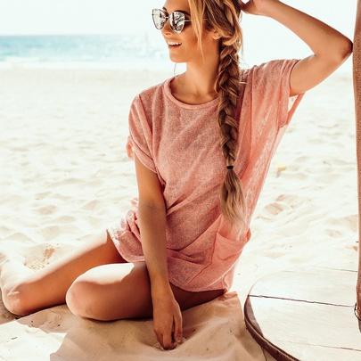 Casual Loose Knit Pocket Round Neck Dress  NSKL52508