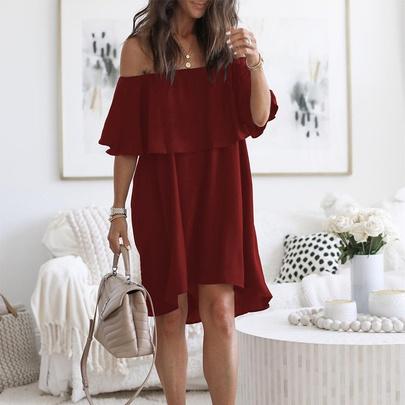 Casual Loose Ruffled Off-shoulder Solid Color Dress  NSKL52510