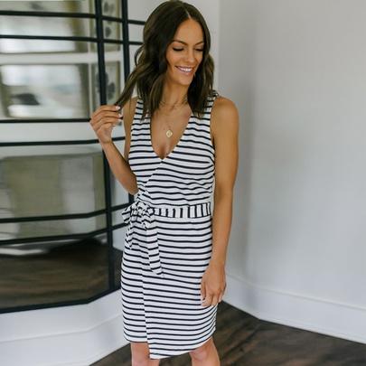 V-neck Slim Belt Striped Casual Vest Dress  NSKL52511