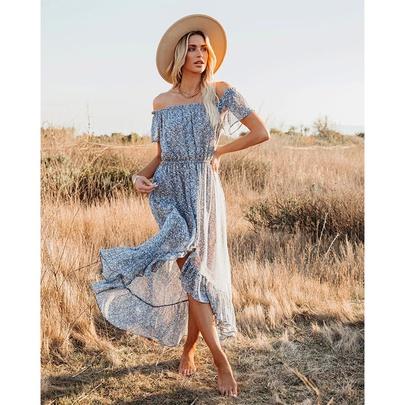 Fashion Short-sleeved Strapless Printed Long Dress NSSA52515