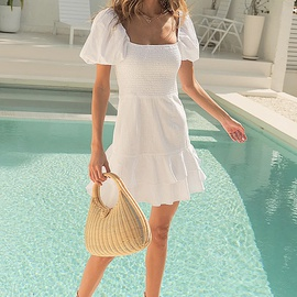 Square Neck Puff Sleeves Ruffled Pleated Dress  NSYSB52520