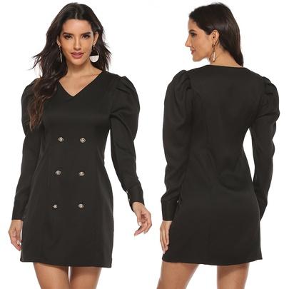 Lamb-leg Sleeves Double Breasted V-neck Short Dress  NSJR52526