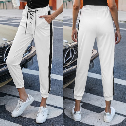 Contrast Color Cross Lace-up Sports Casual Pencil Trousers  NSJR52529