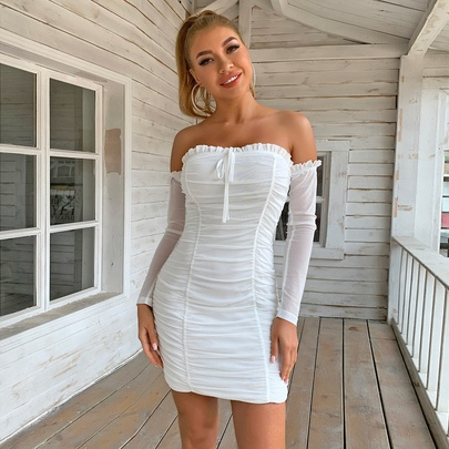 Off-shoulder Long-sleeved Tube Top Pleated Sexy Dress NSYI52578