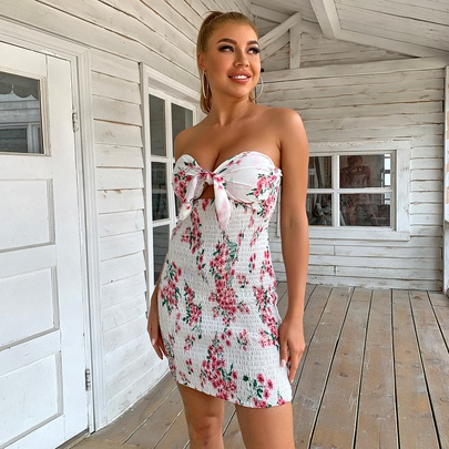 Sexy Tube Top Pleated Print Dress NSYI52580
