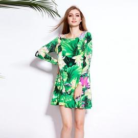 Large Size Loose Print Long-sleeved Cotton Dress NSLUT53884
