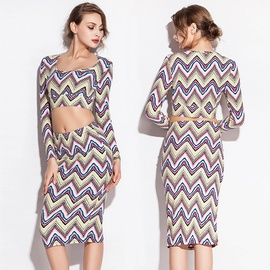 Sexy Wave Pattern Long-sleeved Print Split Dress Suit NSLUT53881