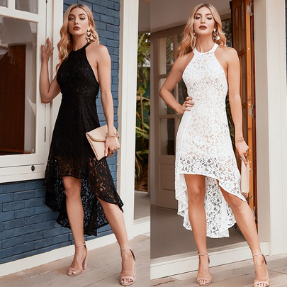Summer New Fashion Sling Pure Color Lace Dress NSSA52655