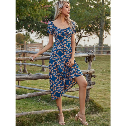 Summer New Mid-length Fashion Short-sleeved Printed Dress NSSA52656