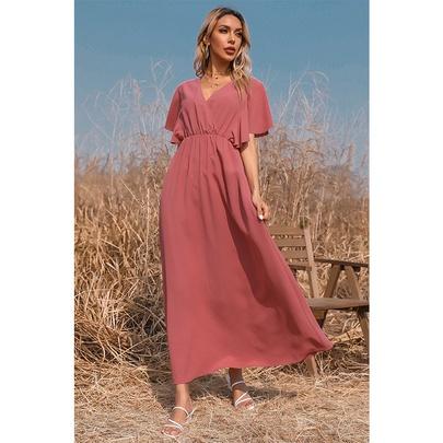 Summer New Short-sleeved Long Solid Color V-neck Dress NSSA52659