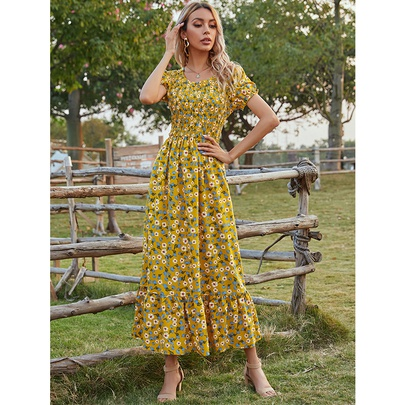 Summer New Long Round Neck Short-sleeved Printed Dress NSSA52660