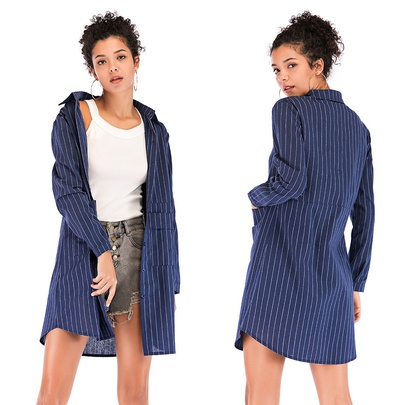 Spring And Autumn New Plus Size Blue Striped Long Shirt NSJR52665