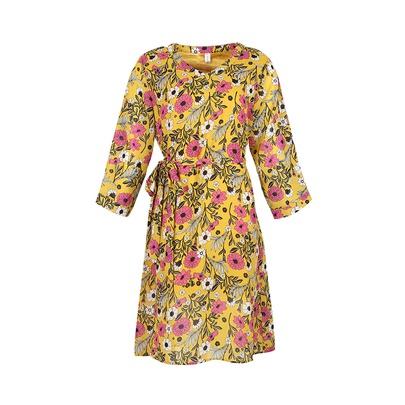 Large Size V-neck Printed Lace-up Chiffon Long-sleeved Dress NSJR52680