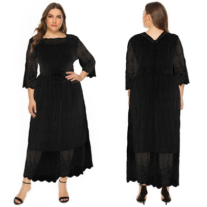 Plus Size Lace Mid-sleeve Round Neck Long Dress  NSJR52681