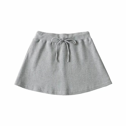 Korean Version Simple College Style Waffle Elastic Waist Drawstring Skirt NSAC52704