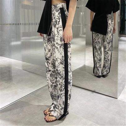 Printing Loose Straight-leg Thin And Small High-waisted Wide-leg Pants  NSAC52711
