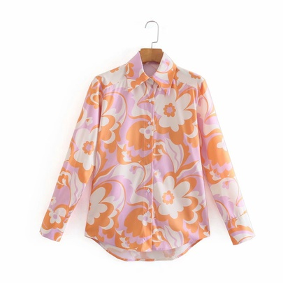 Wholesale Spring Printed Long-sleeved Shirt Top NSAM52758