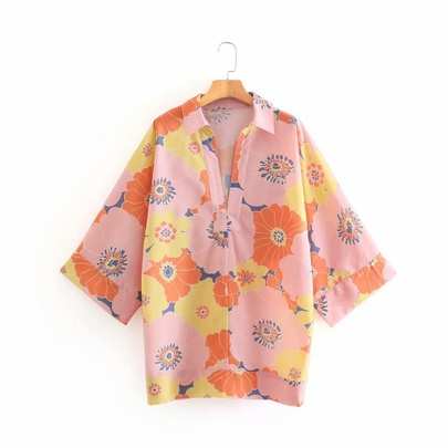 Wholesale Spring Flower Middle-sleeved Loose Casual Shirt  NSAM52767