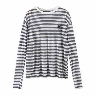 Tencel Stripe Long-sleeved Loose Sunscreen T-shirt  NSAM52774