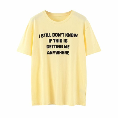 Flocking Letter Printed Short Sleeve T-shirt NSAM52776