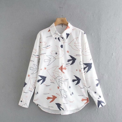 Wholesale Spring Printed Long-sleeved Blouse NSAM52778