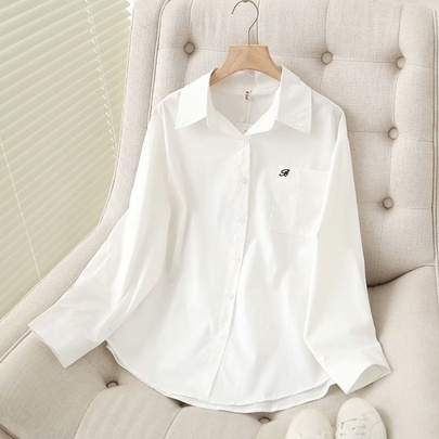 Wholesale Loose And Simple Embroidery Long-sleeved White Shirt  NSAM52779
