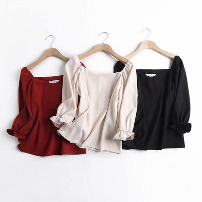 Wholesale Retro Trumpet Sleeves Square Collar Slim Short Shirt NSAM52780