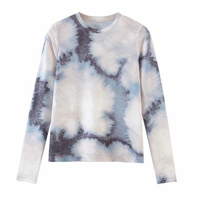 Tie-dye Slim Long-sleeved Loose T-shirt  NSAM52783