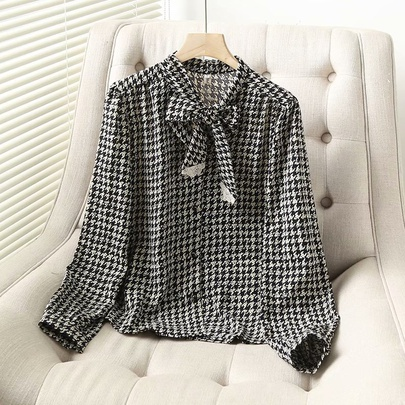 Wholesale New Retro Houndstooth Bow Shirt NSAM52785