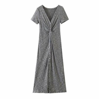 Wholesale Spring Kinked Slit Dress NSAM52791