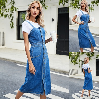 Spring And Summer New Single-breasted Denim Suspender Dress NSCX52793