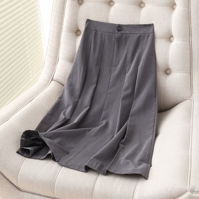 Solid Color Temperament High Waist Mid-length A-line Pleated Skirt  NSAM52917