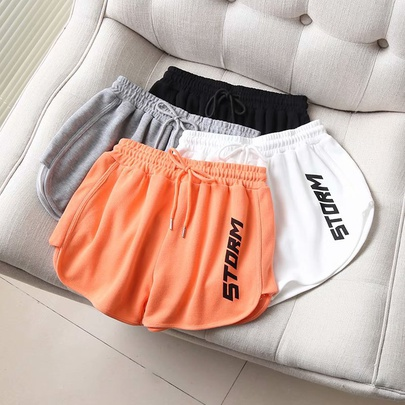 Drawstring Embroidered Letters High Waist Sports Shorts  NSAM52918