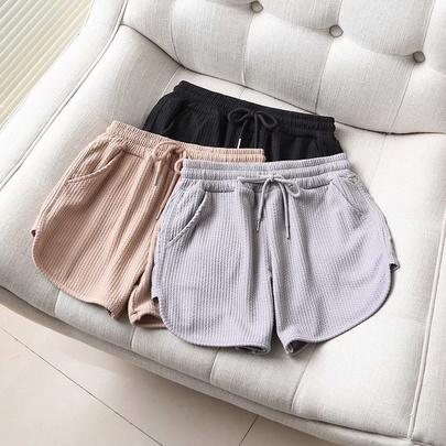 Embossed Cotton High Waist Wide Leg Sports Shorts NSAM52920