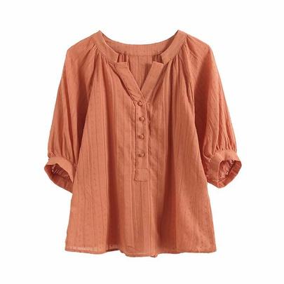 Retro Thin V-neck Loose Puff Five-point Sleeve White Shirt  NSAM52921