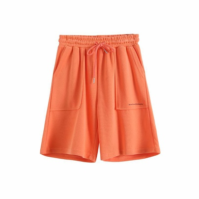 Solid Color Drawstring Elastic Waist Thin Loose Home Sports Shorts  NSAM52922